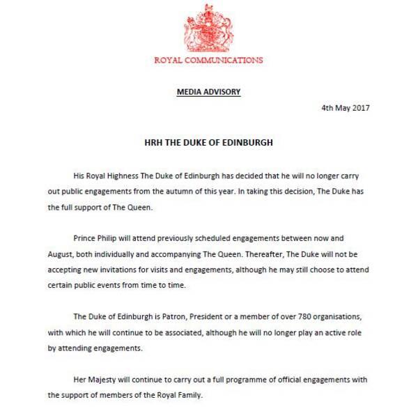 Uttalandet som släpptes angående prins Philips besked.