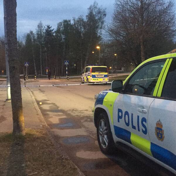Polisbilar vid brottsplatsen.