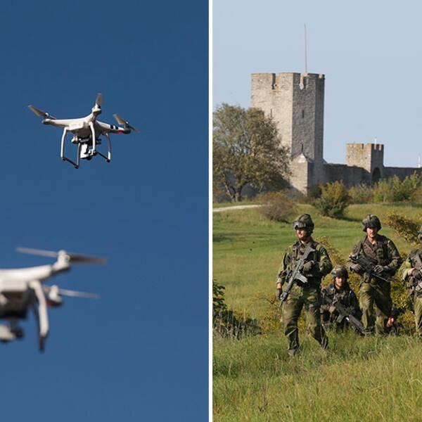 drönare försvarsmakten gotland