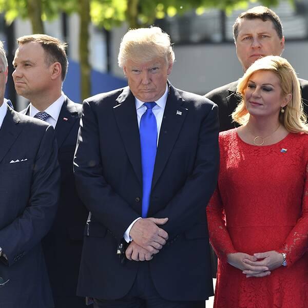 Donald Trump (mitten) tillsammans med belgiska kung Philippe, Kroatiens president Kalinda Grabar-Kitarovic och Litauens Dalia Grybauskaite vid Natos högkvarter.
