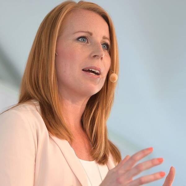 Centerpartiets ledare Annie Lööf (C) håller pressträff under politikerveckan i Almedalen