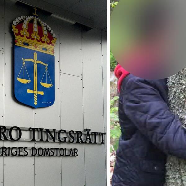 Delad bild. Till vänster Örebro tingsrätt, till höger blurrad bild på 12-åringen i skogen.