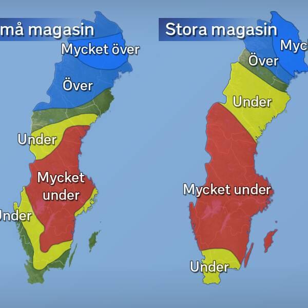 Grundvattennivåernas avvikelse från det normala i juli för små respektive stora magasin. Källa: SGU (Sveriges geologiska undersökning).