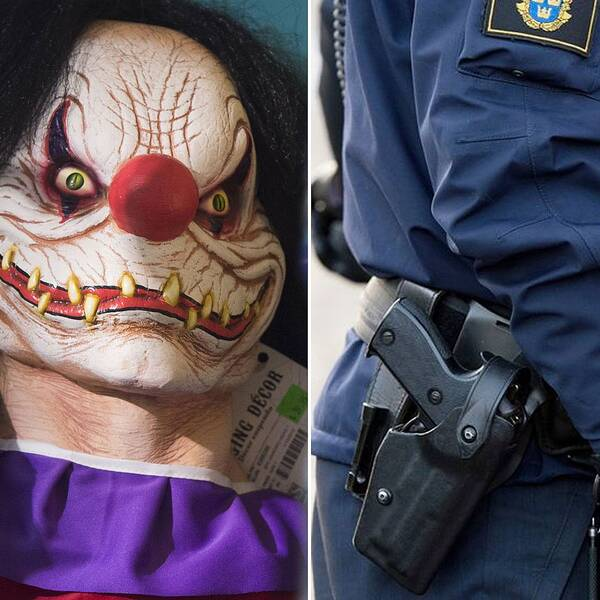En läskig clownmask och en polisuniform.