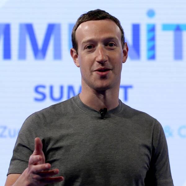 Till vänster Mark Zuckerberg. Till höger sönderblåsta hus i Puerto Rico.