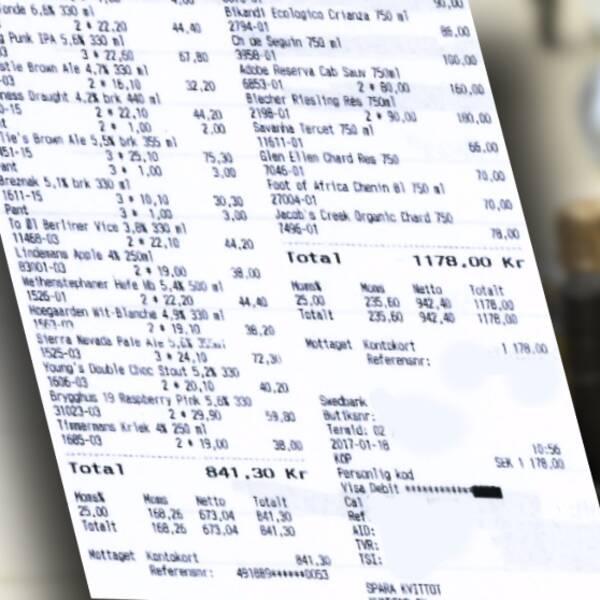 Kvitton som avslöjar privata inköp av alkohol – som sedan godkänts som utlägg i tjänsten. Ett exempel på felaktig hantering, enligt den rapport som SVT Nyheter Blekinge tagit del av.