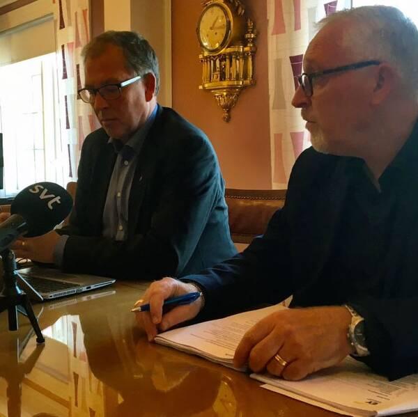 Kommundirektör Carl-Martin Lanér och kommunstyrelsens ordförande Patrik Hansson (S).