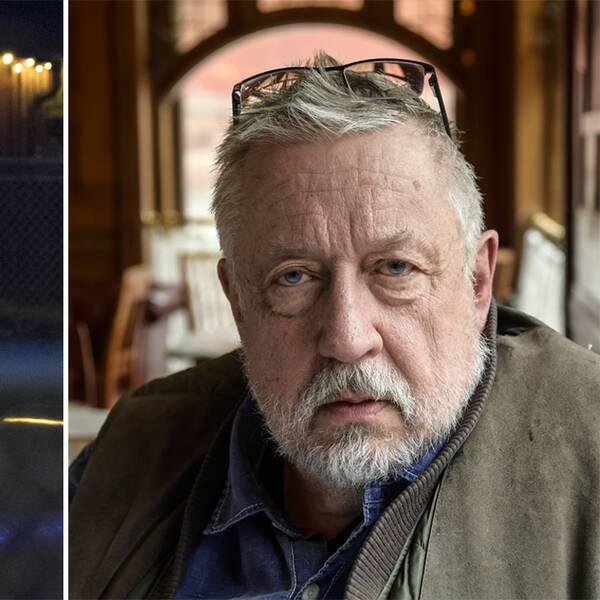 Till vänster en polis lyser med ficklampa i området där en ung kvinna våldtogs. Till höger Leif GW Persson i brun väst och med glasögonen i pannan.