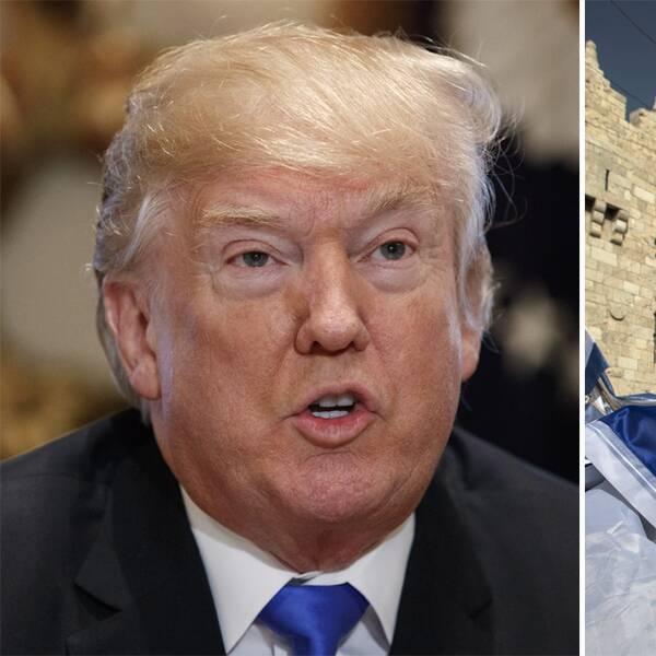 Till vänster Donald Trump. Till höger människor med israeliska flaggor.