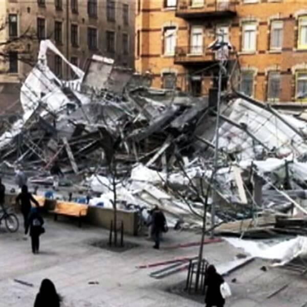 Byggställning rasat vid Avenyn.