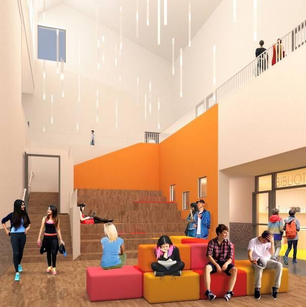 Visionsbild av elever med digitala verktyg i en öppen skolmiljö