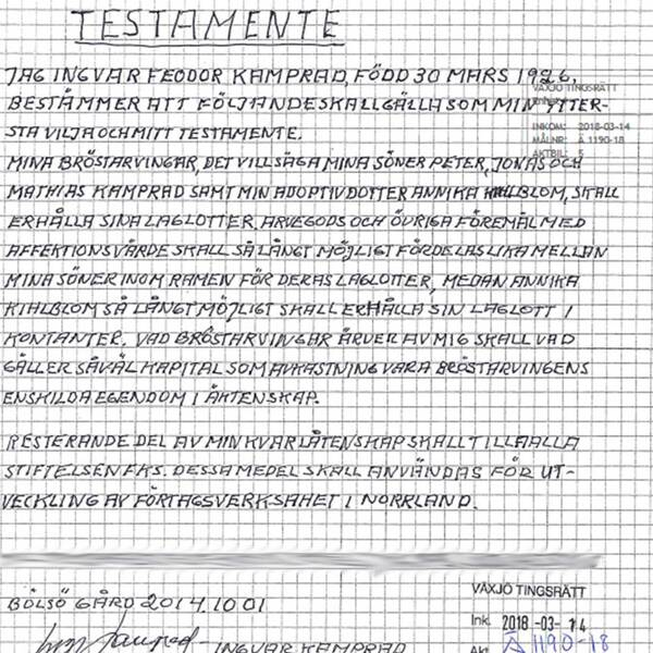 Ingvar kamprad testamente