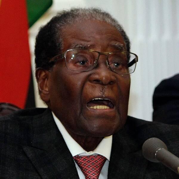 Robert Mugabe vid sitt avgångstal i Harare i november 2016.