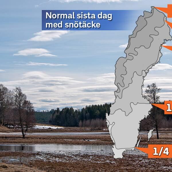 Sista datum för snötäcke, medel för perioden 1961-1990.