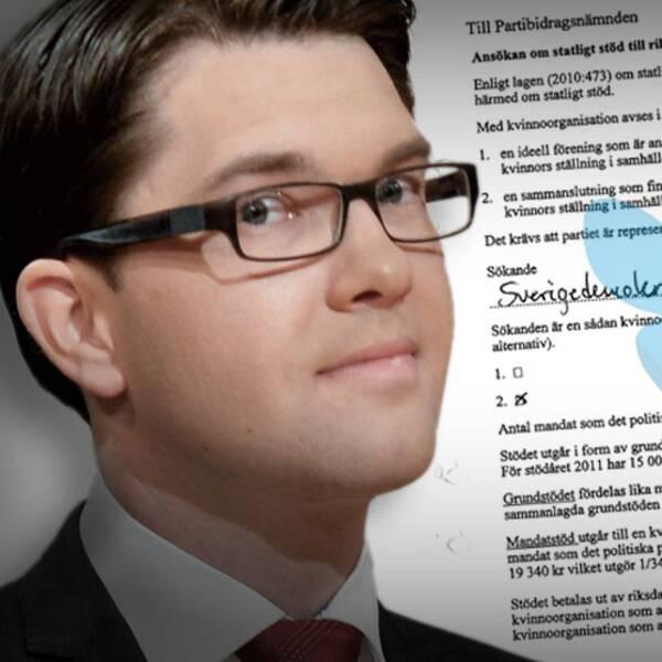 Sverigedemokraternas partiledare Jimmie Åkesson. Infälld bild: SD:s ansökningar om bidrag för kvinnoförbundet.