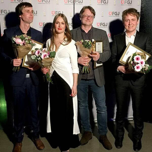 Del av den prisvinnande gruppen (till vänster) bakom reportaget Fallet Kevin: Jakob Larsson, Anna Nordbeck, Dan Josefsson och Johannes Hallbom