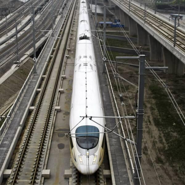 Ett vitt höghastighetståg står stilla på ett tågspår samt bild på Tomas Eneroth (S), infrastrukturminister.