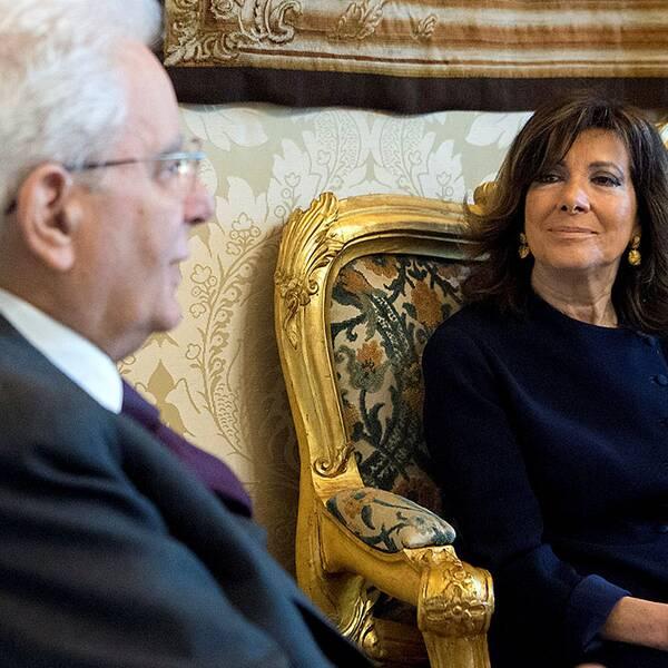 Italienska parlamentets talman, Maria casellati, tillsammans med Italiens president, Sergio Mattarella.