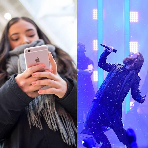 Norska eurovision-artisten Alexander Rybak och danska Rasmussen.