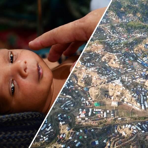 en bebis och ett flyktingläger