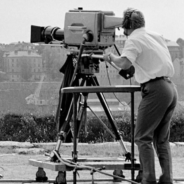 """Inspelning av tv-programmet """"Möte i sommarkvällen"""" i juli 1969."""