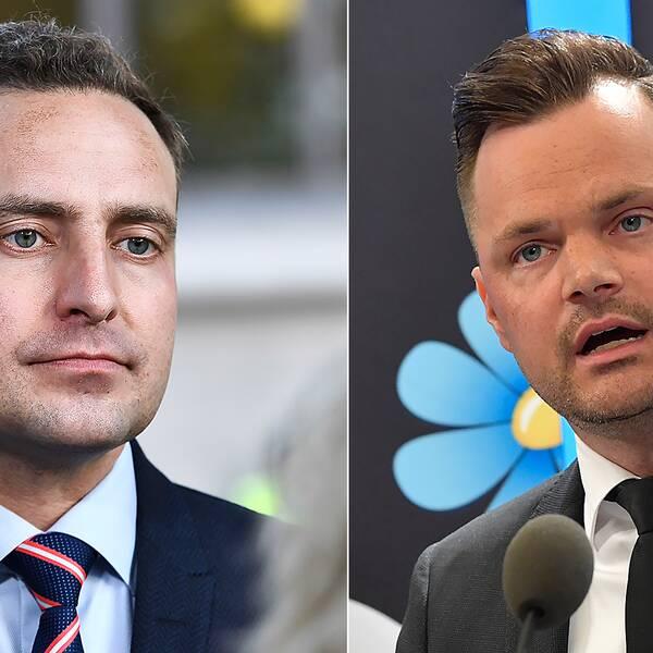 Tomas Tobé och Adam Marttinen, rättspolitiska talespersoner för M respektive SD.
