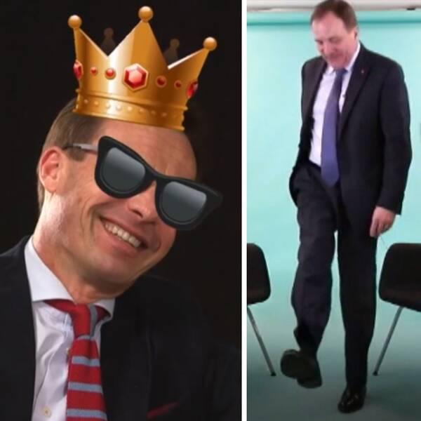 Ulf Kristersson skrattar i krona och solglasögön. Stefavn löfven dansar. Annie Lööf skrattar.
