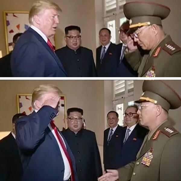 Donald Trumps kritiserade honnör med ministern No Kwang Chol försvarades av Vita husets presstalesperson Sarah Huckabee Sanders