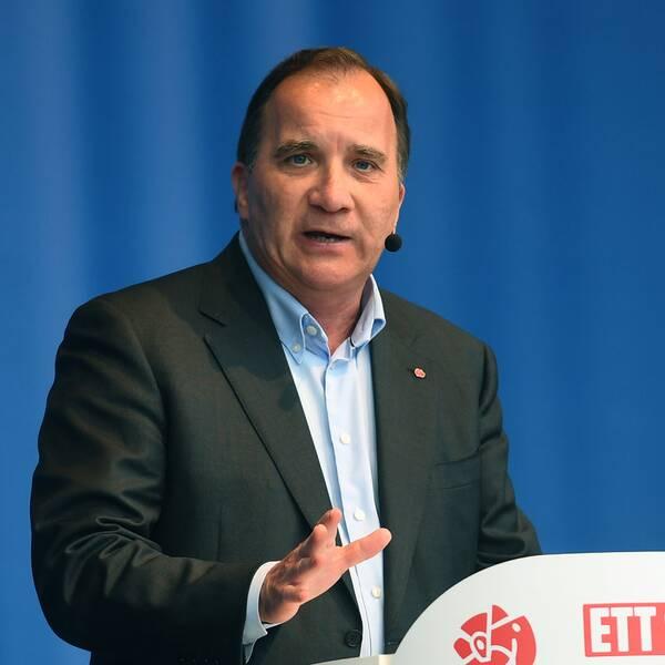 Socialdemokraternas partiledare och statsminister Stefan Löfven talar under den sista dagen av politikerveckan i Järva.