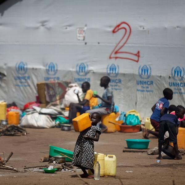 En flicka dricker vatten ur en dunk i ett flyktingläger i norra Uganda.