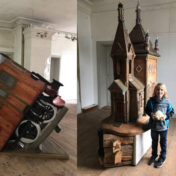 """Två av Åberg-verken som nu ställs ut i gamla Rådhuset på Murberget. Till höger """"Ryska kyrkan"""" där museichefens son Eyvind fungerar som jämförelseobjekt."""