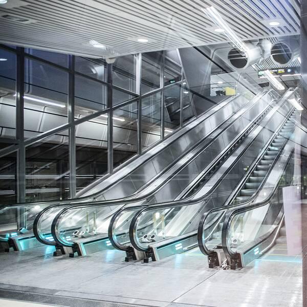 Rulltrappor på Citybanan i Stockholm