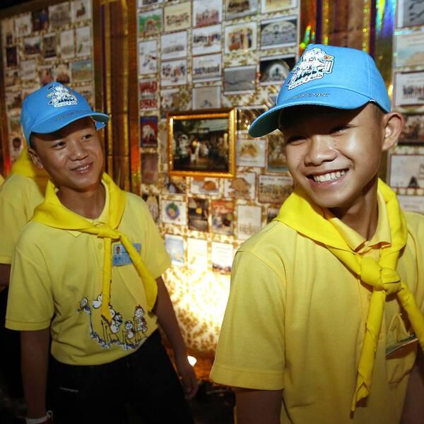 Pojkarna som satt fast i grottan i Thailand.