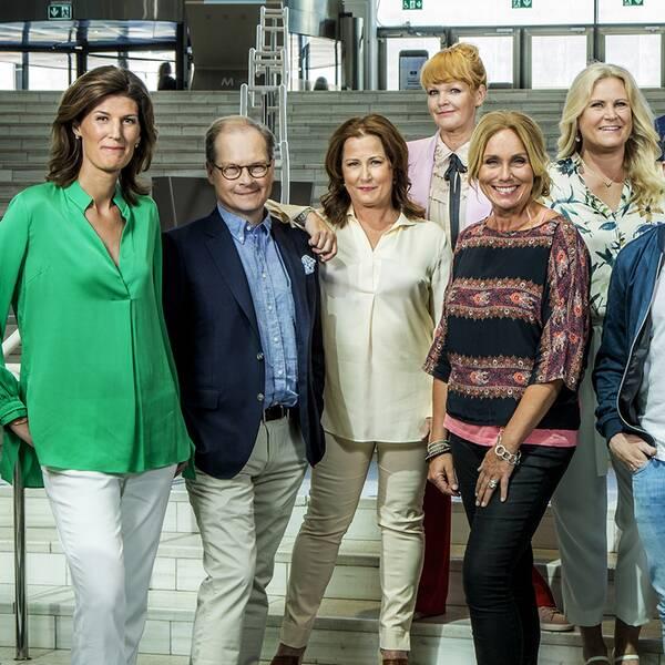 Medarbetare som bevakar riksdagsvalet 2018 i SVT.