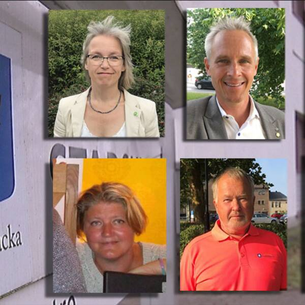 Politker i Kungsbacka kommun. Från översta vänstra hörnet: Maria Losman (MP), Fredrik Hansson (C), Niklas Mattsson (KD), Maria Rasmussen (V), Roger Larsson (Kbabo) och Carita Boulwén (SD)