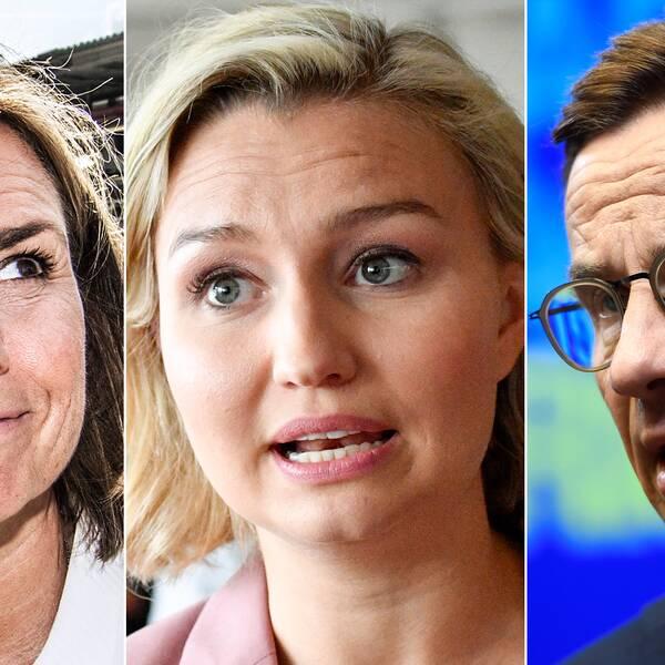 Isabella Lövin (MP), Ebba Busch Thor (KD) och Ulf Kristersson