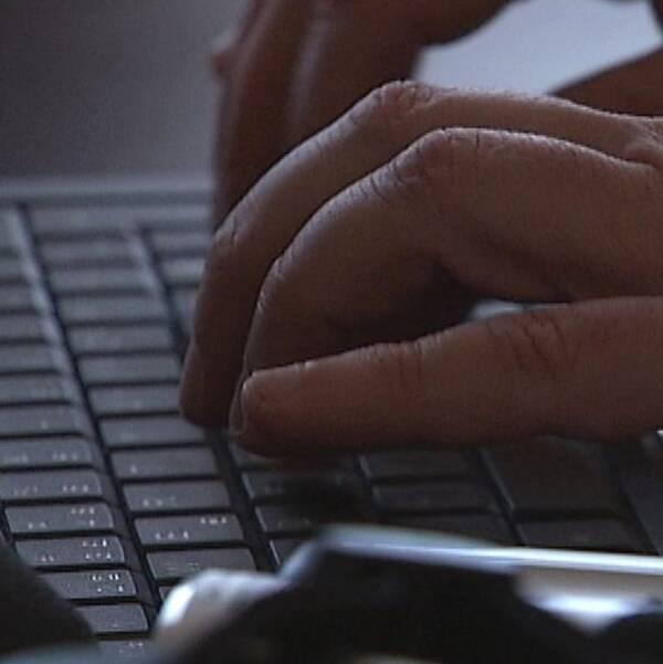 Näthat; händer som kriver på tangentbord