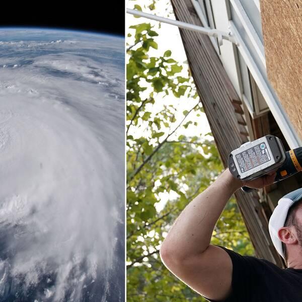 Chris Hooper förebreder sig för orkanen Florence genom att skruva in plywoodskivor på sitt hem. Till vänster en bild på orkanen Florence tagen från rymden.