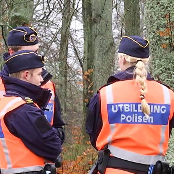 Tre polisstudenter i orange väst står vända mot varandra utomhus. Skog i bakgrunden.