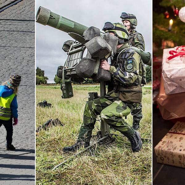 Tredelad bild, från vänster: Förskolebarn, en militärövning och en bild på shopping.