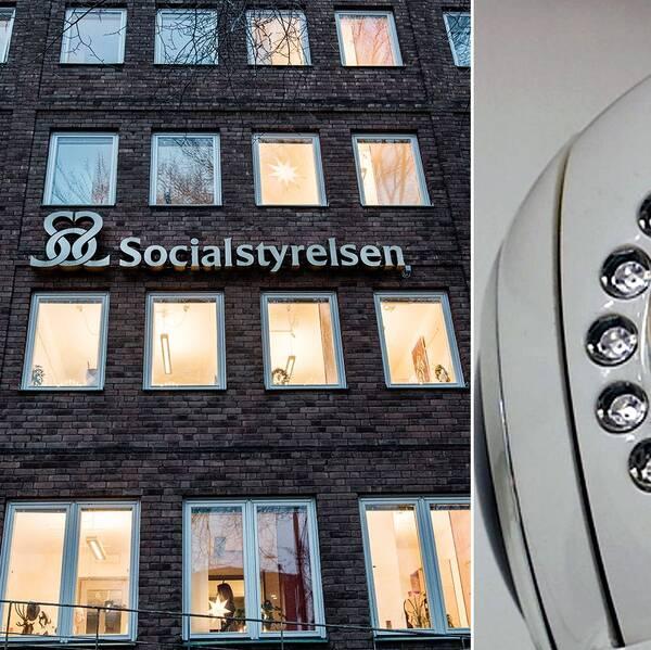 Bild på Socialstyrelsens kontor i Stockholm och en övervakningskamera.