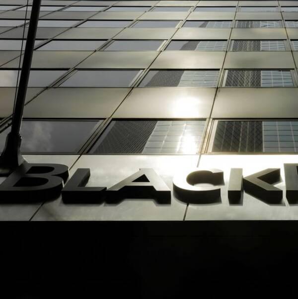 Blackrocks skylt på deras byggnad i New York.