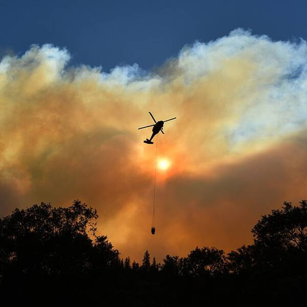 Helikopter över brandområde i Kalifornien.