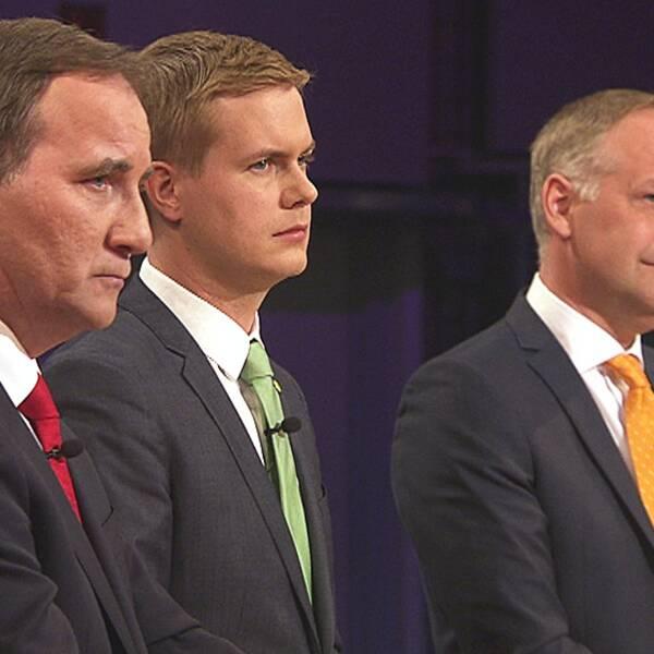 Stefan Löfven, Gustav Fridolin, Jonas Sjöstedt i Agendas partiledardebatt.