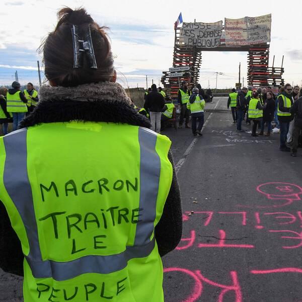 Demonstranter i gula västar