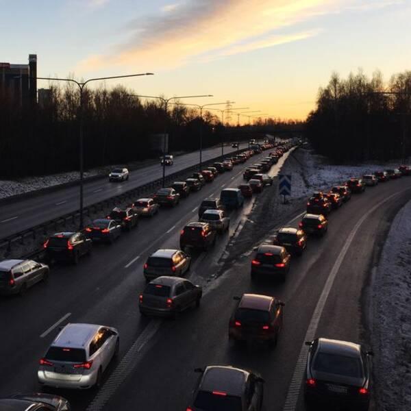 e18, e20, trafik, vinter, bilkö