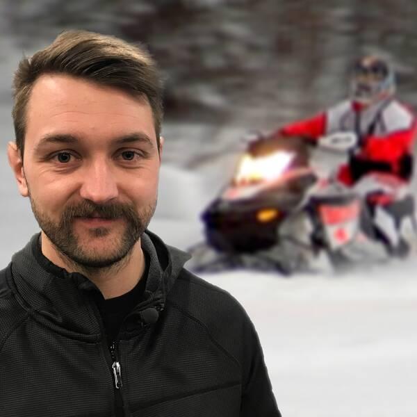 Se Emil Molander, skoterförsäljare i Sundsvall berätta om lavinutrustning