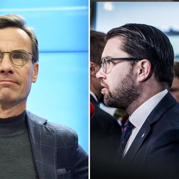 Moderatledaren Ulf Kristersson, Sverigedemokraternas Jimmie Åkesson och Centerpartiets Annie Lööf.