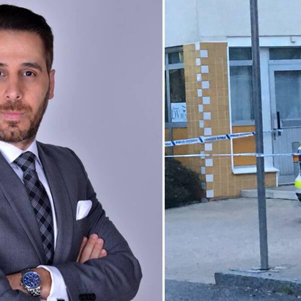 Advokat george Yanko och avspärrningar i Markbacken.