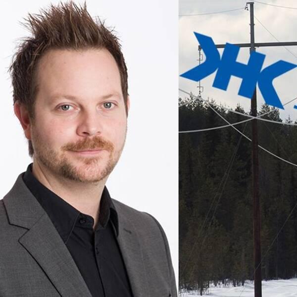 Bild på Mikael Råstedt, till vänster, och en kraftledning, till höger.